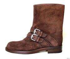 new $770 GUCCI 'Skip' dark brown suede signature buckle FLAT ANKLE BOOTS - best