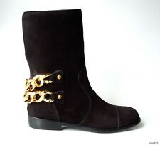 new $1395 Giuseppe ZANOTTI 'Blade' black suede GOLD CHAINS flat ankle boots HOT