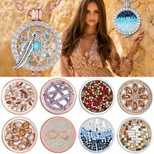 Chic MY Coin Mi Crystal Disc Charms Locket Feather DIY Pendant Necklace Handmade