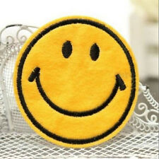 Happy Smile Face Yellow Iron On Applique Embroidered Patch DIY Sewing 6cm Top