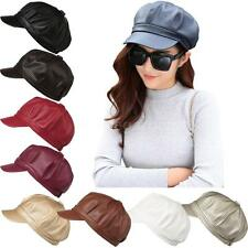 New Vintage Women PU Leather Newsboy Cap Solid Color Painter Beret Hat R9P7