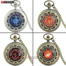 Petal Hollow Fire Fighter Gold Dial Quartz Vintage Pocket Watch Chain Necklace