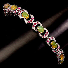 AMAZING OVAL CUT 6x4mmRAINBOW FIRE OPAL,RED RUBY STERLING 925 SILVER BRACELET 7#