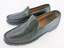 Salvatore Ferragamo Florence Black Leather Loafers Fashion Heel Footwear 10 AA