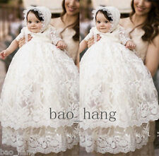 Baby Baptism Gown Christening Dress White Lace First Communication Outfit Bonnet