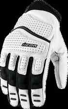 Mens Icon White Leather Super Duty 2 Motorcycle Riding Street Racing gloves