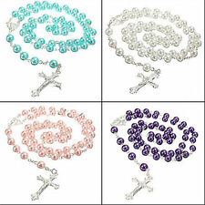 Women Rosary Beads Pearls Cross Pendant Long Beaded Necklace Chain Vintage Gift
