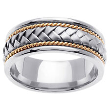 14K Two Tone White Yellow Gold Hand Braided Wedding Ring Band 8.5mm (WJRL01324)