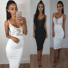 Stylish Women Sexy Perspective Lace Sling SleevelessTight Dress Silm Hip Dress