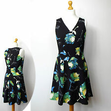 New NEXT Silky FLORAL PRINT Fit & Flare DRESS ~ Size 12 ~ BLACK Mix (rrp £45)
