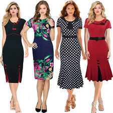 Women 50s Vintage Pinup Ladies Fishtail Party Wiggle Pencil Sheath Dress 8 18 20