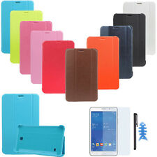 "Flip Leather Case Cover For Samsung Galaxy Tab 4 7"" SM-T230 + HD Film+Stylus Pen"