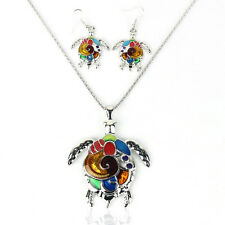 Women Lovely New Jewelry Set Charming Rainbow Turtle Pendant Necklace+Earring