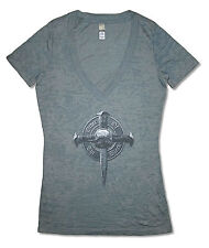 Black Label Society Cross Burn Out Grey Girls Juniors T Shirt New Official BLS