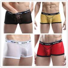 Mens Mesh Sheer Boxer Briefs Underwear Sexy Shorts Trunk Bulge Pouch Underpants