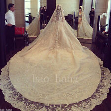 Luxury Crystal 4m Cathedral Bridal Veils White Ivory Long Wedding Veil With Comb