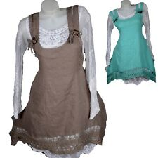 SUMMER PURE LINEN LAPPET TUNIC LACE DRESS HANGER 40 42 44 46 M L XL XXL