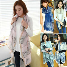 Womens Printed Long Scarf Wrap Neck Shawl Girls Large Silk Chiffon Scarves Voile