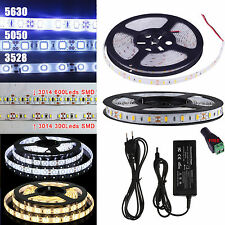 5M LED Flexible Strip Light 3528 2835 5050 5630 3014 SMD Waterproof DC12V Power