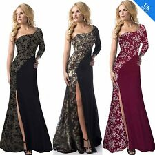 Women One Shoulder Lace Trim Long Thigh Split Party Prom Evening Gown Maxi Dress
