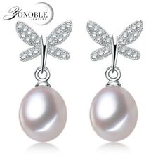 Real Freshwater pearl earrings women,natural pearl earring 925 silver wedding fi