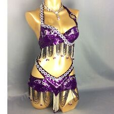 Handmade Beaded Belly Dance Costume 2pcs Set Top Hip Scarf Hollywood Carnival
