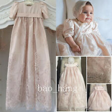 Angela Baby Baptism Dress Long Lace White Ivory Blessing Christening Gown Bonnet