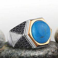 Mens Turquoise Ring 925 STERLING SILVER Heavy Gemstone Ring size 9.5 to 12