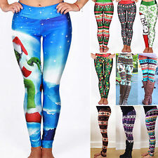 Womens Christmas Skinny Trousers Xmas Printed Leggings Casual Workout Gym Pants