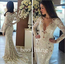 Sparkly Mermaid Wedding Dresses Lace V-Neck Long Sleeve Bridal Gowns Custom Size