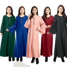 Ladies Muslim Kaftan Abaya Jilbab Islamic Ruffle Sleeve Party Evening Maxi Dress
