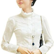 idomcats Fashion Office Lace Blouse Long Sleeve Shirt Womens Victorian Top Size