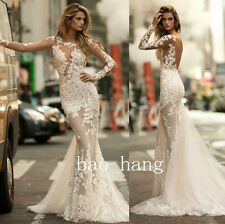 Sexy Sheer Wedding Dress Long Sleeve Open Back Bridal Lace Gown Custom Made 2017