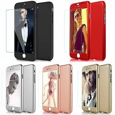 NEW Luxury Slim Hard 360° Protective Case +Tempered Glass Cover For iPhone 5 6 7