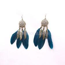 Vintage Bohemian Feather Tassel Dream Catcher Dangle Earrings Hook Ear Jewelry