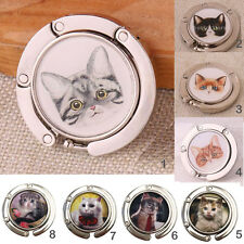 Portable Foldable Folding Cat Print Alloy Purse Handbag Hook Hanger Bag Holder