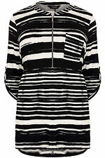 Yoursclothing Plus Size Womens Stripe Longline Jersey Top With Zip Front