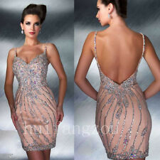 Pink Beaded Beading Evening Bridesmaids' Formal Ball Gowns Dresses New Sexy 2017