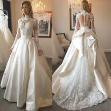 Beaded Sequins Wedding Dresses Bridal Ball Gowns Ballroom Long Sleeve Formal New