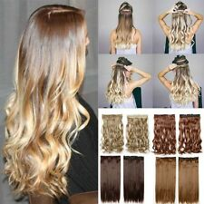 UK Mega Thick Clip In Hair Extensions 3/4 Full Head One Piece Long Wavy Straight