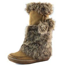 Closed Toe Warm Comfortable Zip Up Pom Pom Fur Mid Calf Boot Flat Mid Boot