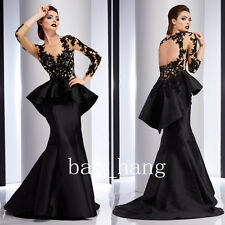 Black Mermaid Formal Ball Gown Long Sleeve Key Hole Evening Party Prom Dress New