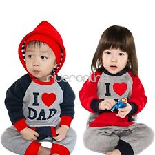 I Love Mom Dad Baby Infant Boy Girl Romper Hoodie Jumpsuit Outfits Clothes 6-18M