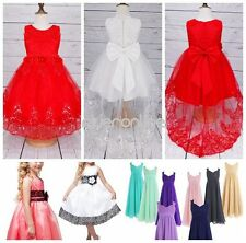 Flower Girls Lace Tulle Dress Formal Pageant Wedding Bridesmaid Birthday Party
