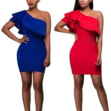 Sexy Women Ruffled Bodycon One Shoulder Mini Dress Party Cocktail Club Dress G25