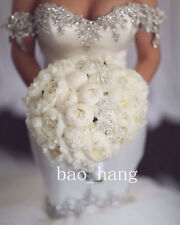 Wedding Dresses Mermaid Off Shoulder Crystals Bridal Gowns Long Tail Sweetheart