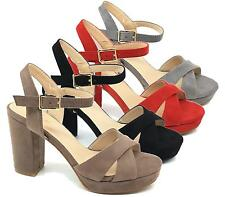 NEW WOMENS BLOCK HIGH HEEL FAUX SUEDE LADIES STRAPPY BUCKLE  SANDALS SHOES SIZE