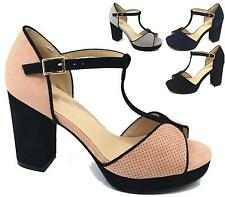 WOMENS HIGH BLOCK HEEL PLATFORM PEEPTOE T-BAR FAUX SUEDE PARTY SANDALS SHOES