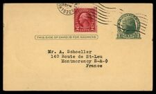 1932 Uprated One Cent Postal Stationery Card To France