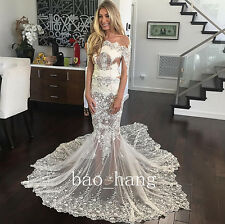 Sexy Sheer Mermaid Wedding Lace Dress Long Sleeve Bridal Gown White Ivory Custom